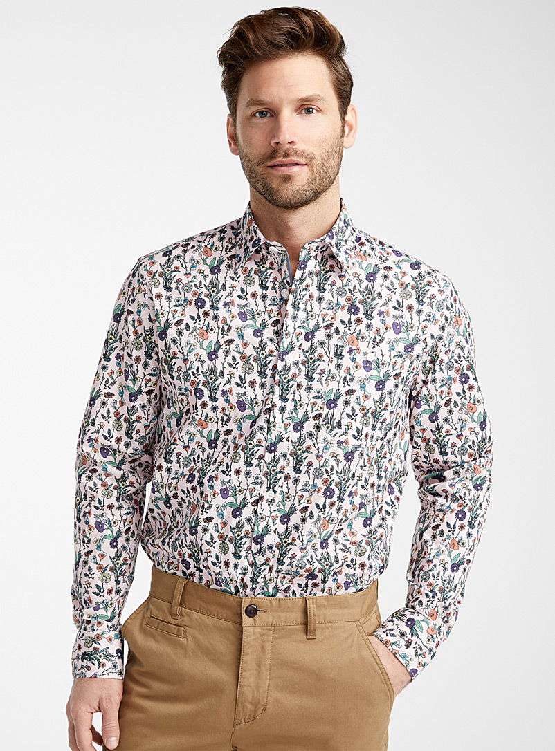 Le 31 Pink Organic cotton floral shirt  Modern fit for men