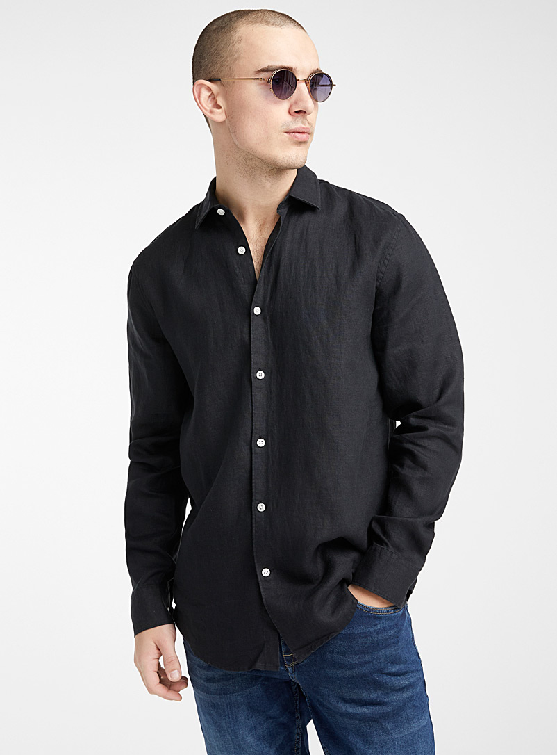 Le 31 Black Solid pure linen shirt  Modern fit for men