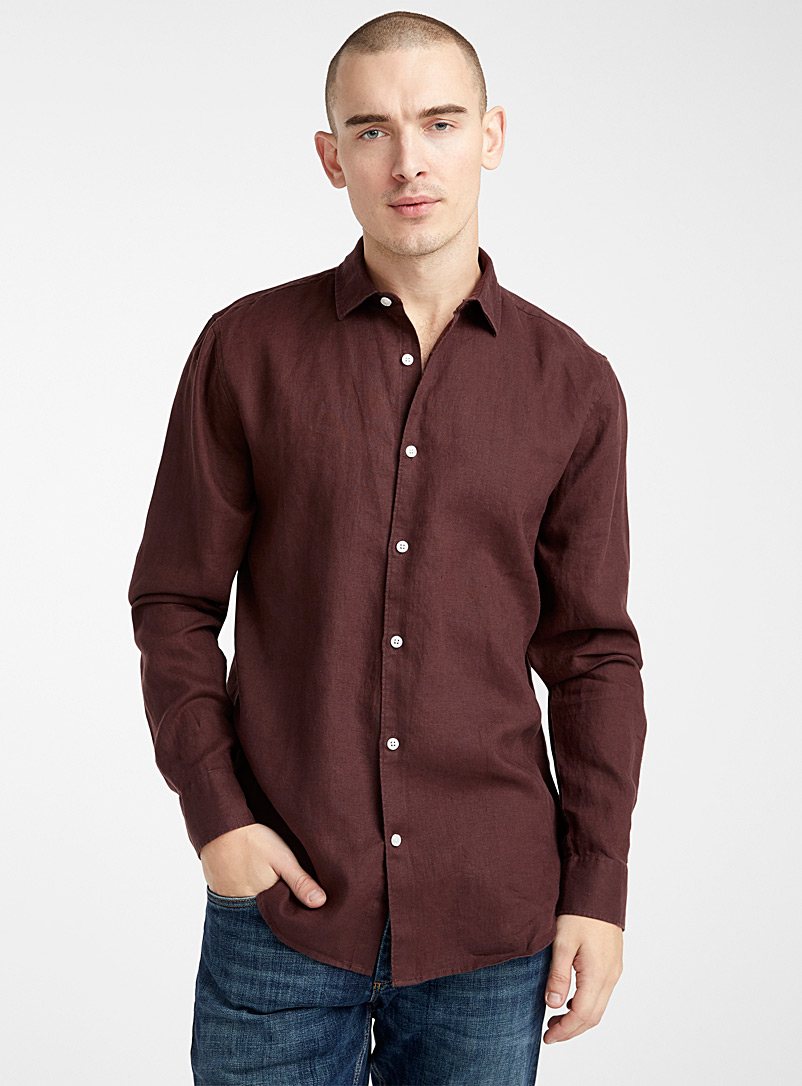 Le 31 Dark Brown Solid pure linen shirt  Modern fit for men