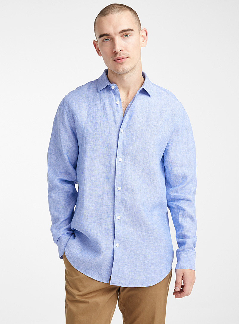 Le 31 Dark Blue Solid pure linen shirt  Modern fit for men