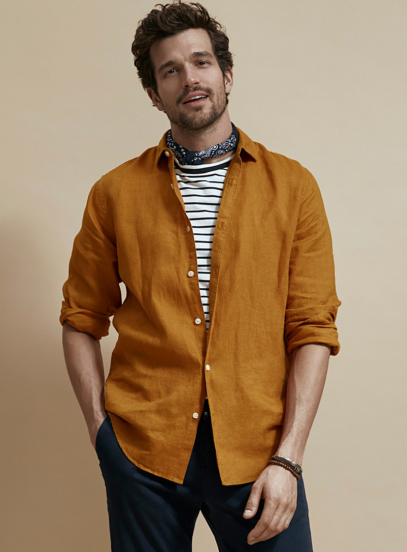 Le 31 Dark Yellow Solid pure linen shirt  Modern fit for men