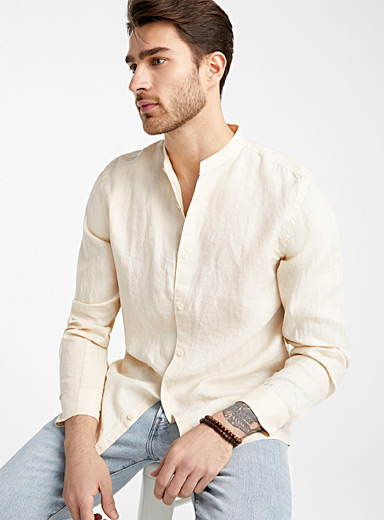 Officer collar 100% linen shirt  Modern fit