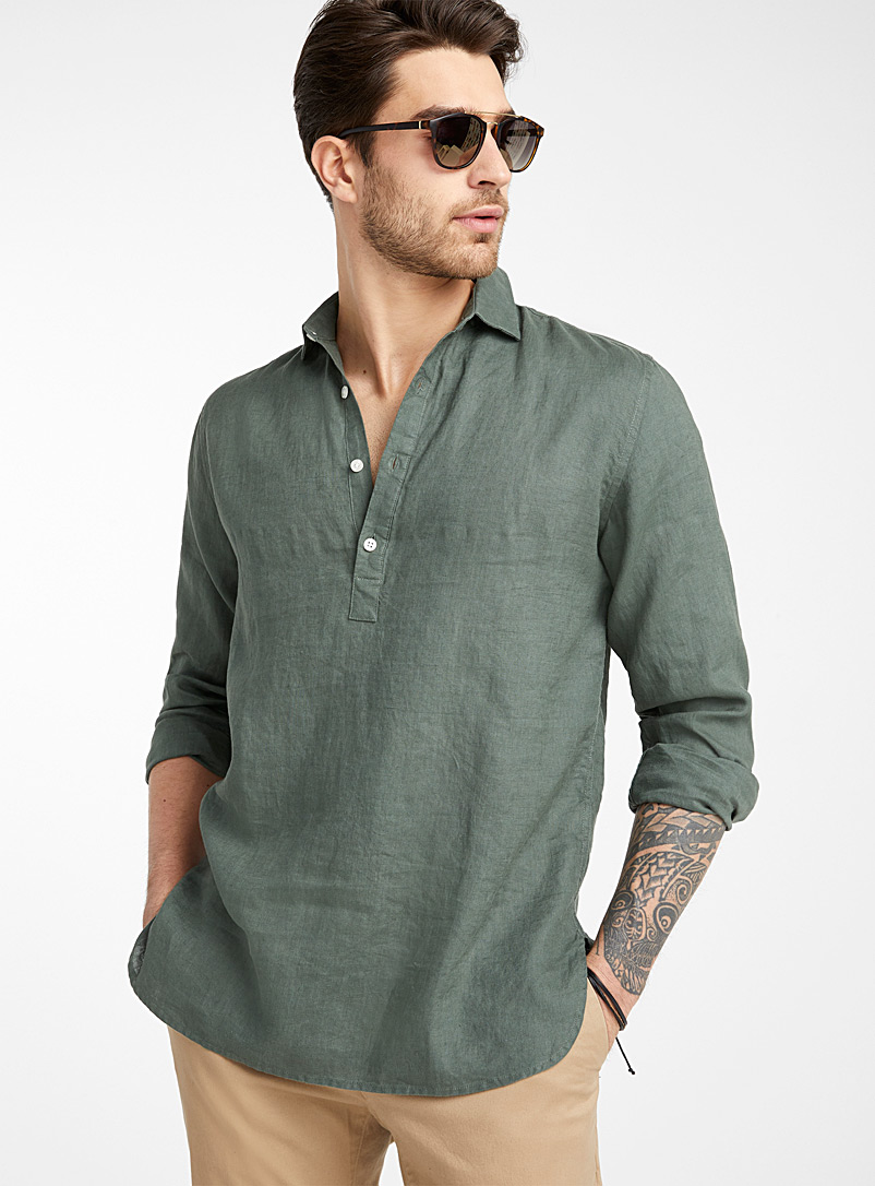 Le 31 Mossy Green Pure linen half-buttoned tunic  Modern fit for men