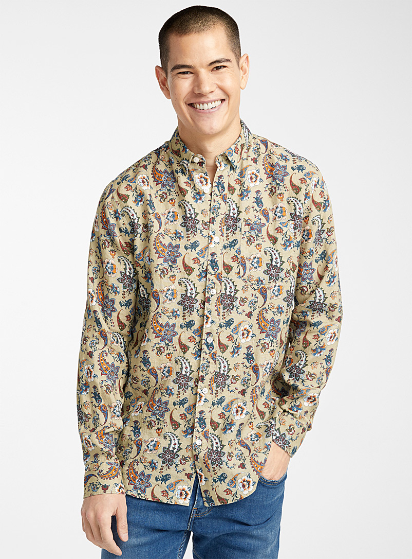 Le 31 Green Pure linen floral shirt  Modern fit for men