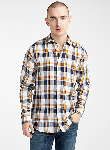 Linen plaid shirt  Modern fit