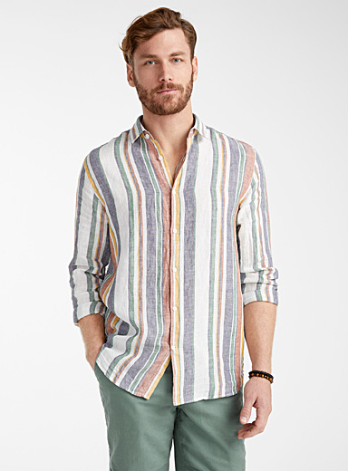 Pure linen vertical stripe shirt  Modern fit