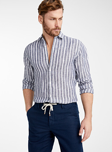 Le 31 Marine Blue Pure linen vertical stripe shirt  Modern fit for men