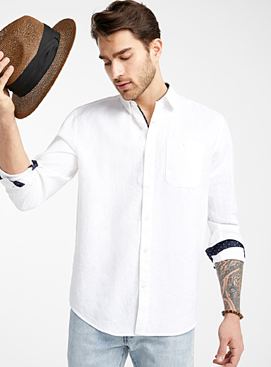 Le 31 White End-on-end pure linen shirt  Comfort fit for men