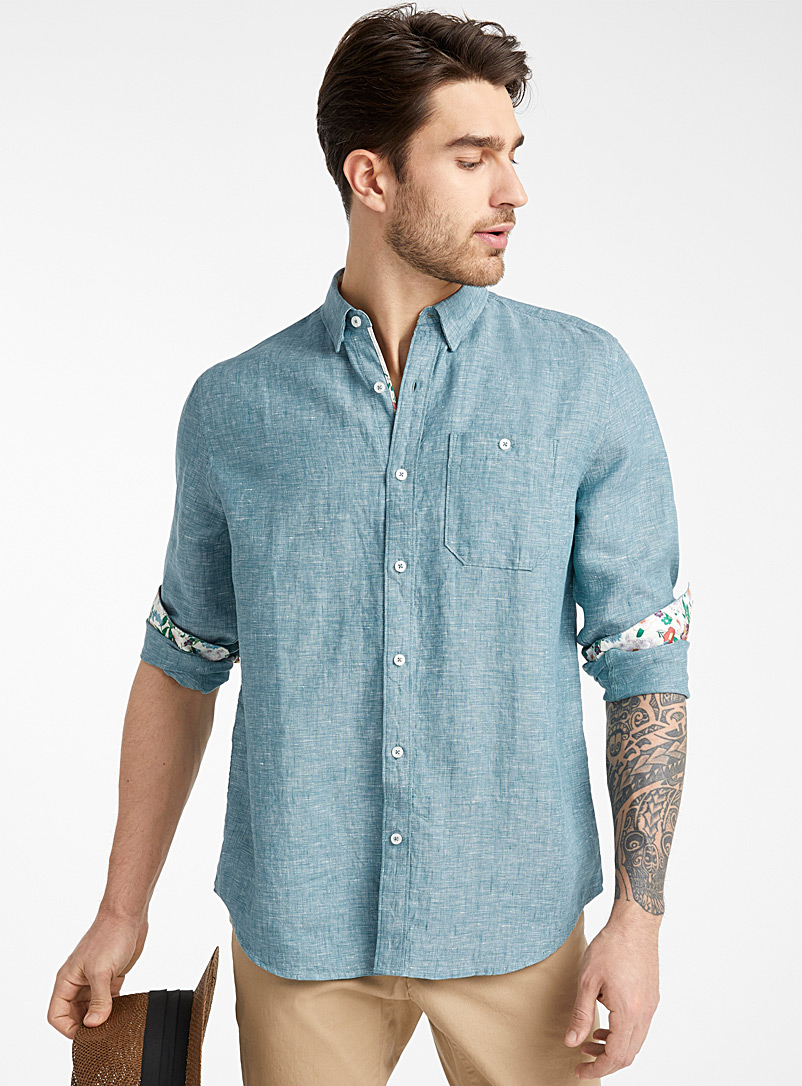 Le 31 Green End-on-end pure linen shirt  Comfort fit for men