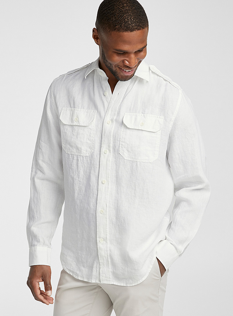 Le 31 White Pure linen utility shirt  Comfort fit for men