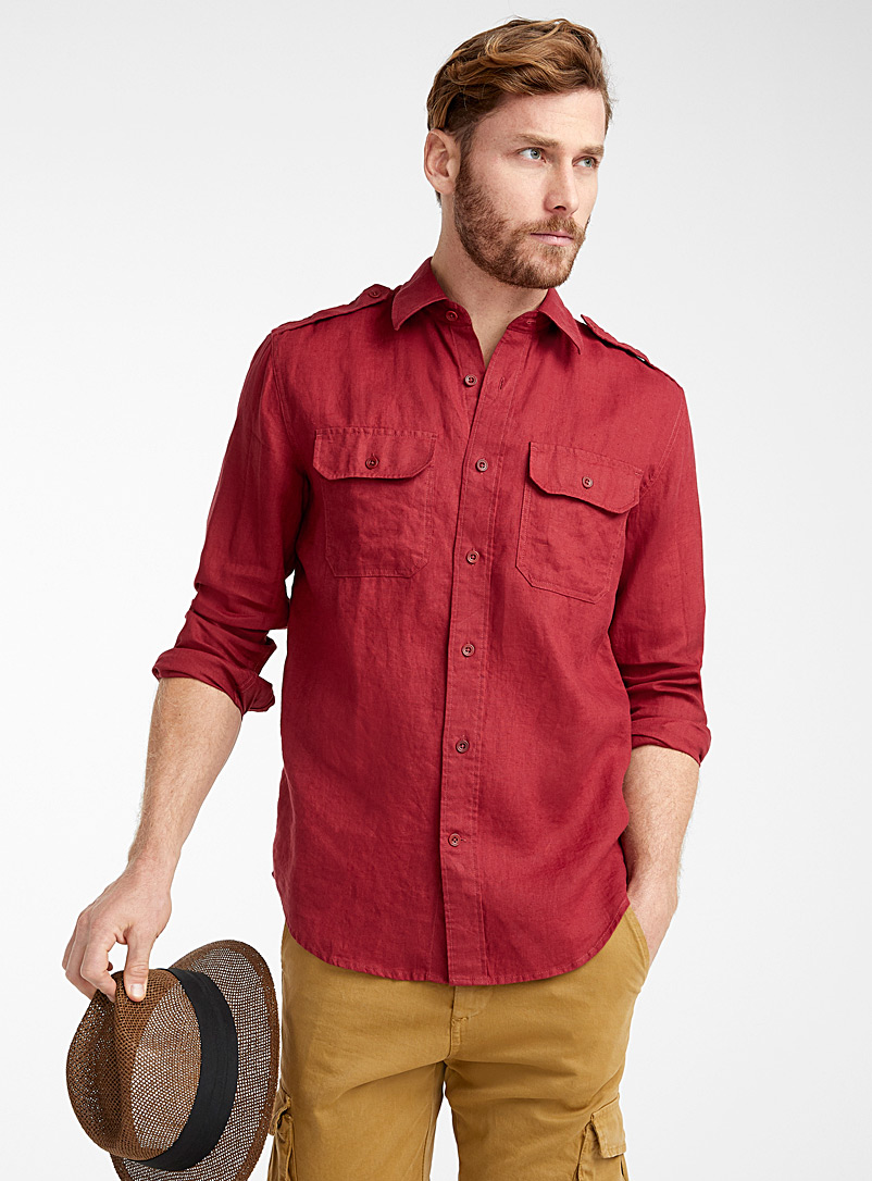 Le 31 Red Pure linen utility shirt  Comfort fit for men