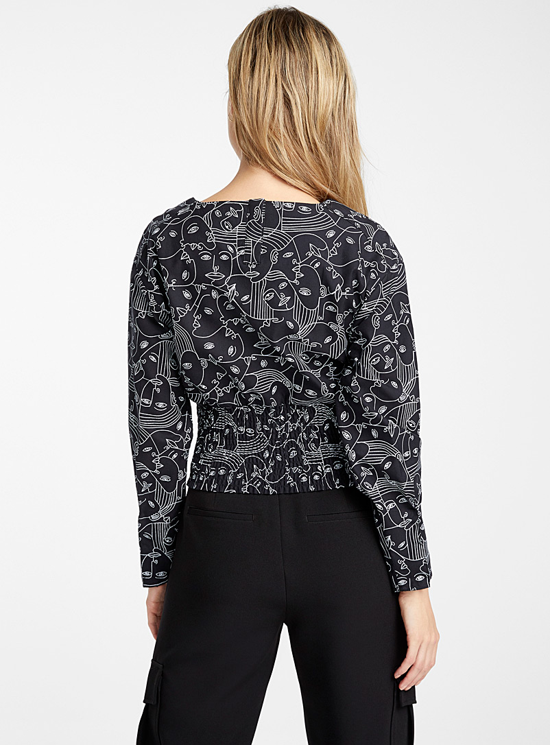 Icône Patterned Ecru Organic cotton puff-sleeve blouse for women
