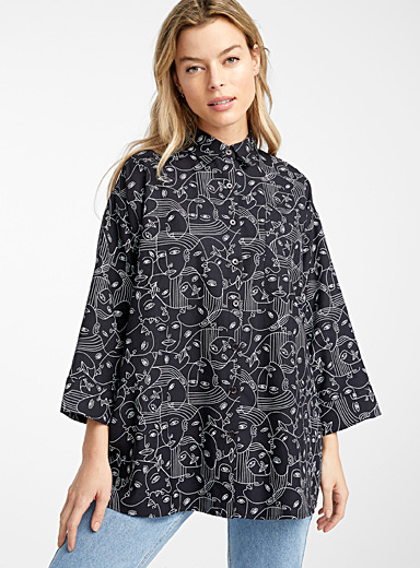 Icône Black and White Patterned loose shirt for women