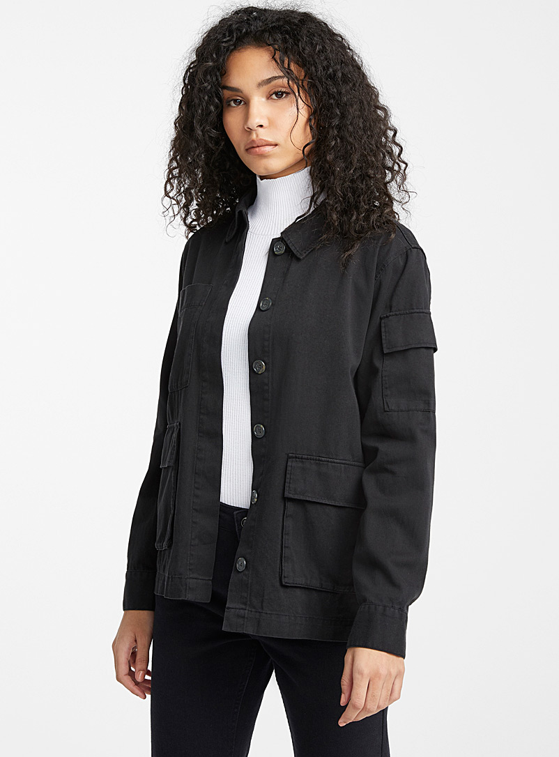 Ic?ne Black Organic cotton patch pocket jacket for women