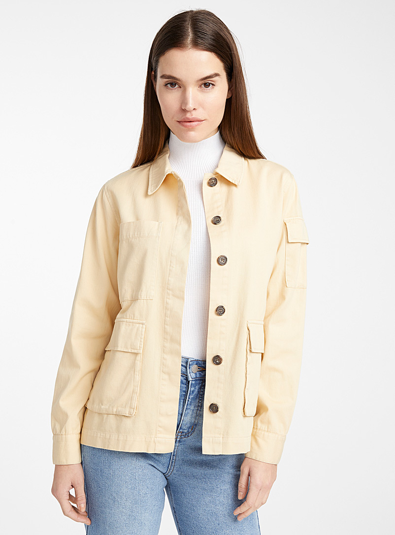 Ic?ne Sand Organic cotton patch pocket jacket for women