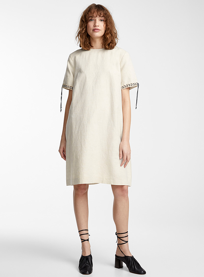 IFWTO + Edito par Simons Ecru/Linen Crochet-band shift dress  Evan Ducharme for women