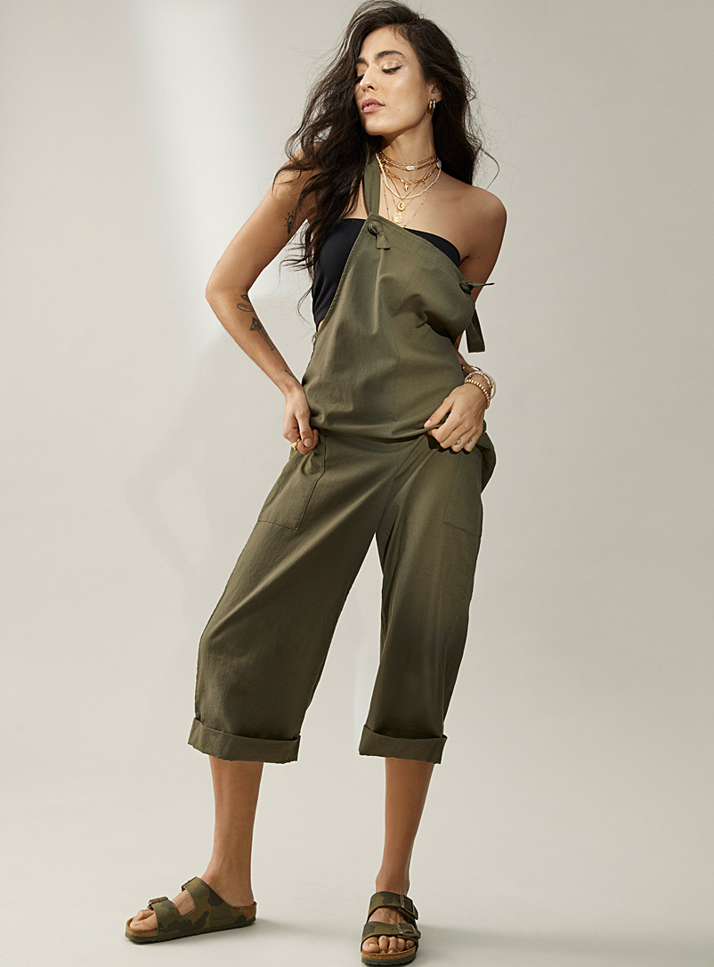 Ic?ne Khaki Colourful organic cotton and linen overalls for women