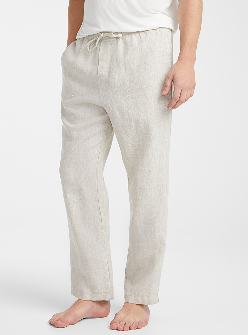 Le 31 Sand Heathered linen lounge pant for men