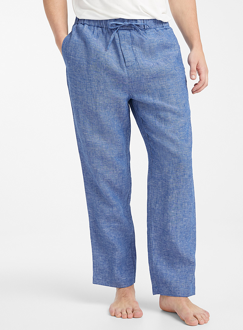 Le 31 Blue Heathered linen lounge pant for men