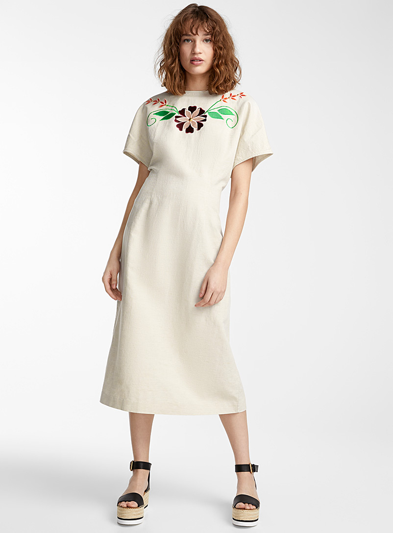 IFWTO + Edito par Simons Ecru/Linen Appliqué flower cinched dress  Injunuity Design Studio for women