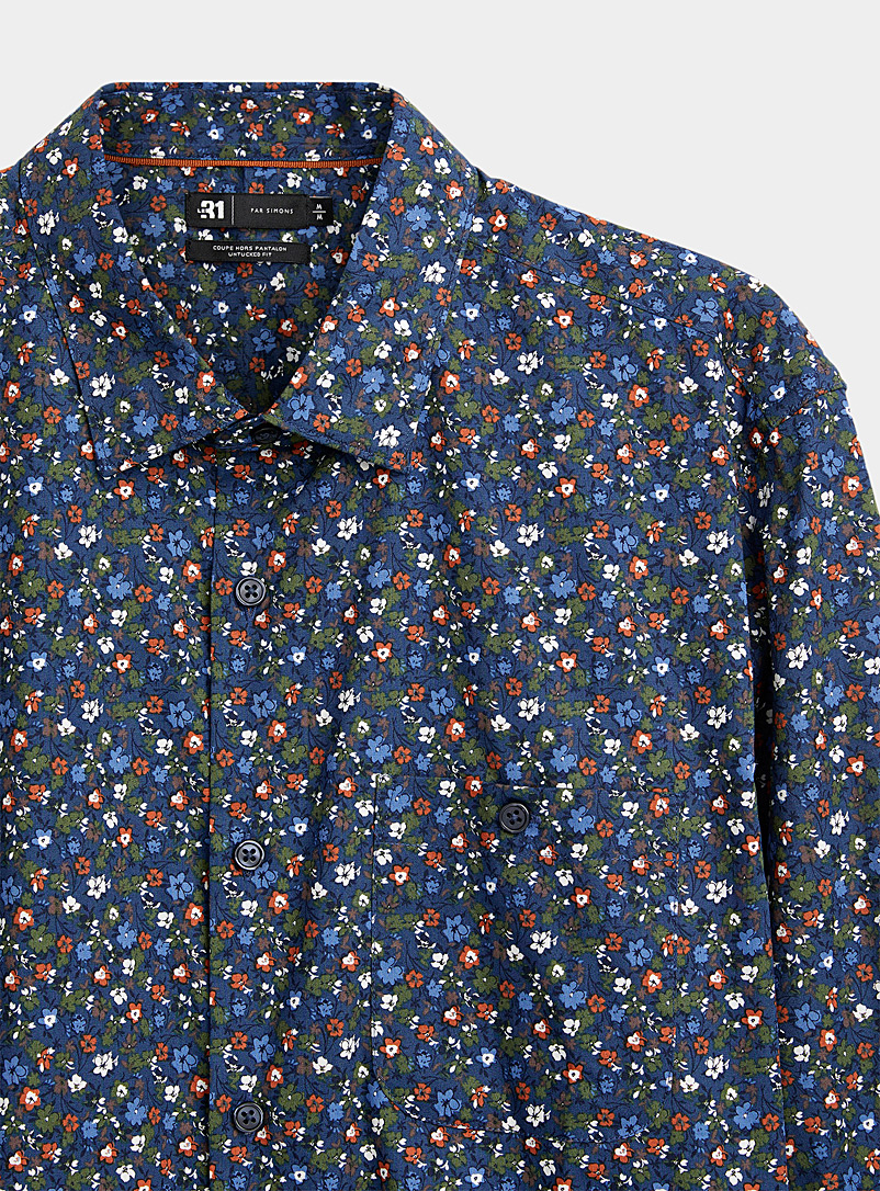 Le 31 Patterned Blue Stretch floral shirt Untucked fit for men