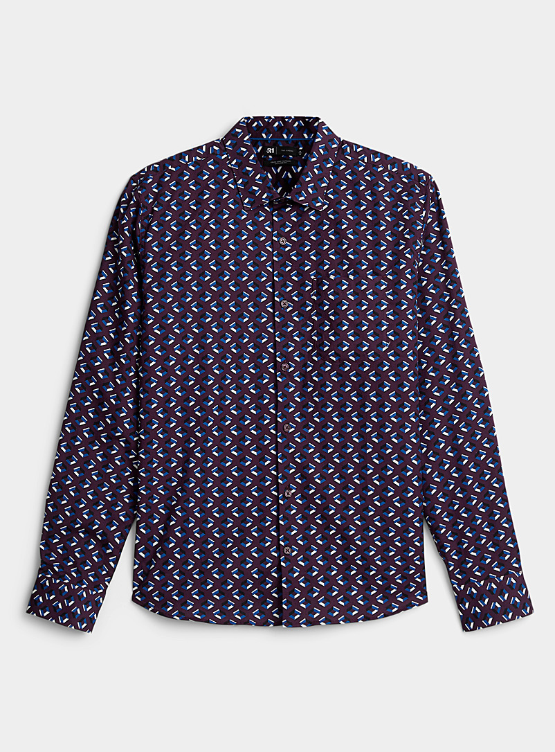Le 31 Patterned Blue 3D geometric stretch shirt Untucked fit for men