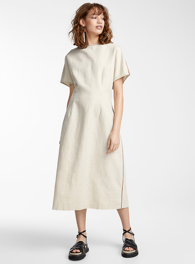 IFWTO + Edito par Simons Ecru/Linen Accent-trim cinched dress  Tania Larsson for women
