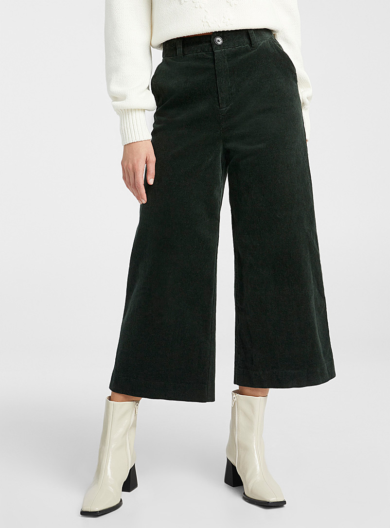 Organic cotton velvet wide-leg pant