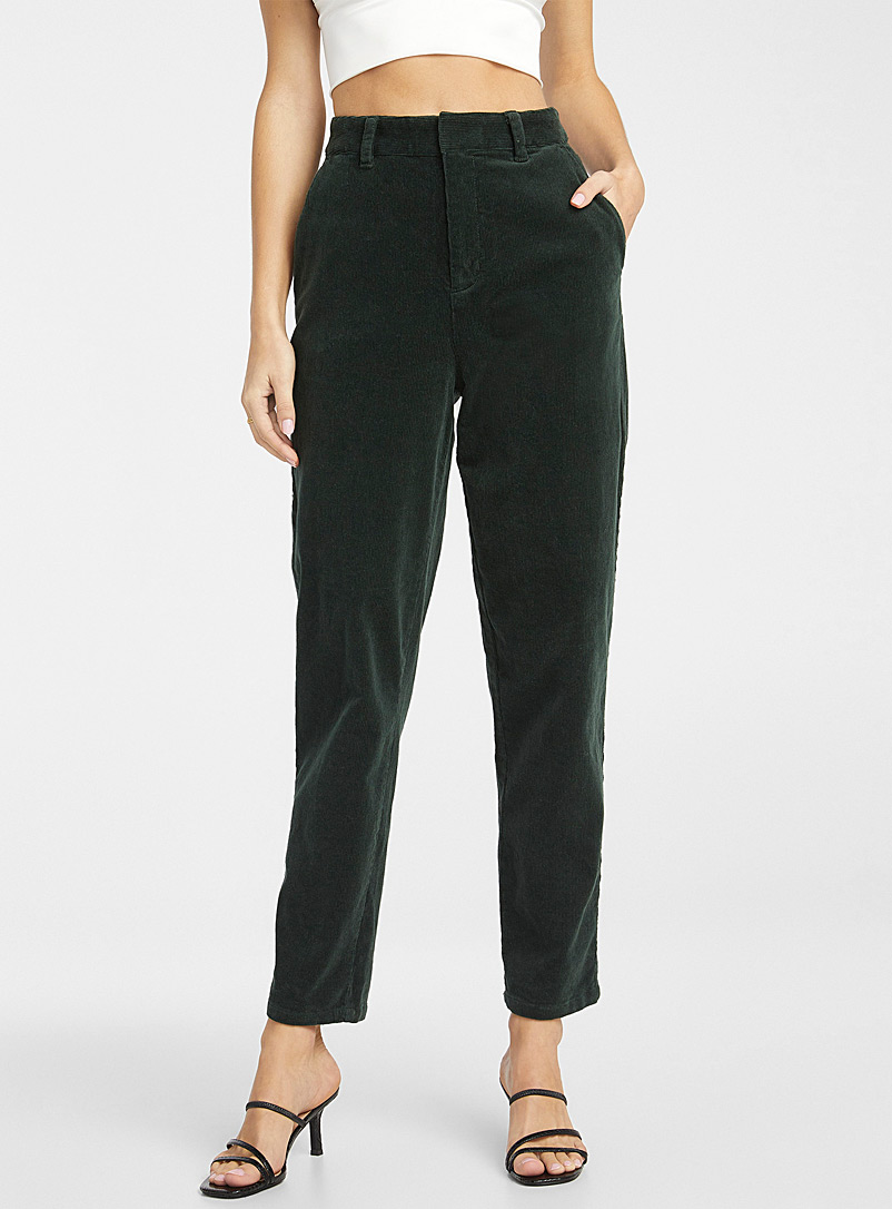 Icône Green Corduroy balloon pant for women