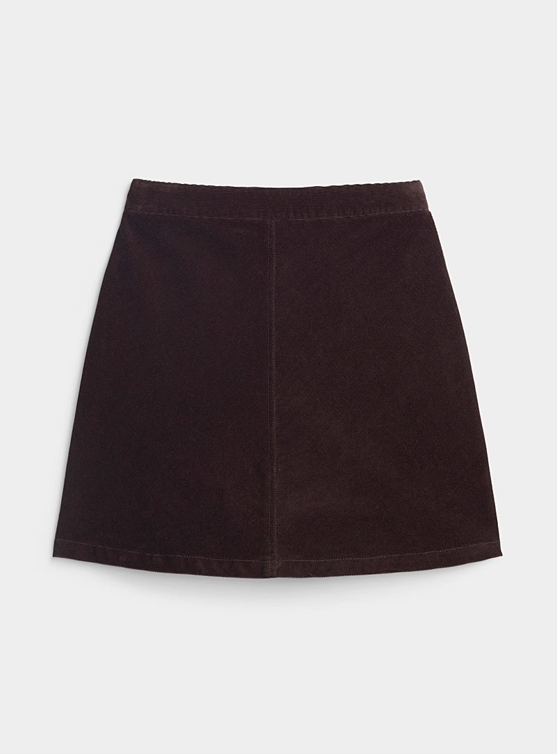 Ic?ne Brown Corduroy zipped midi skirt for women