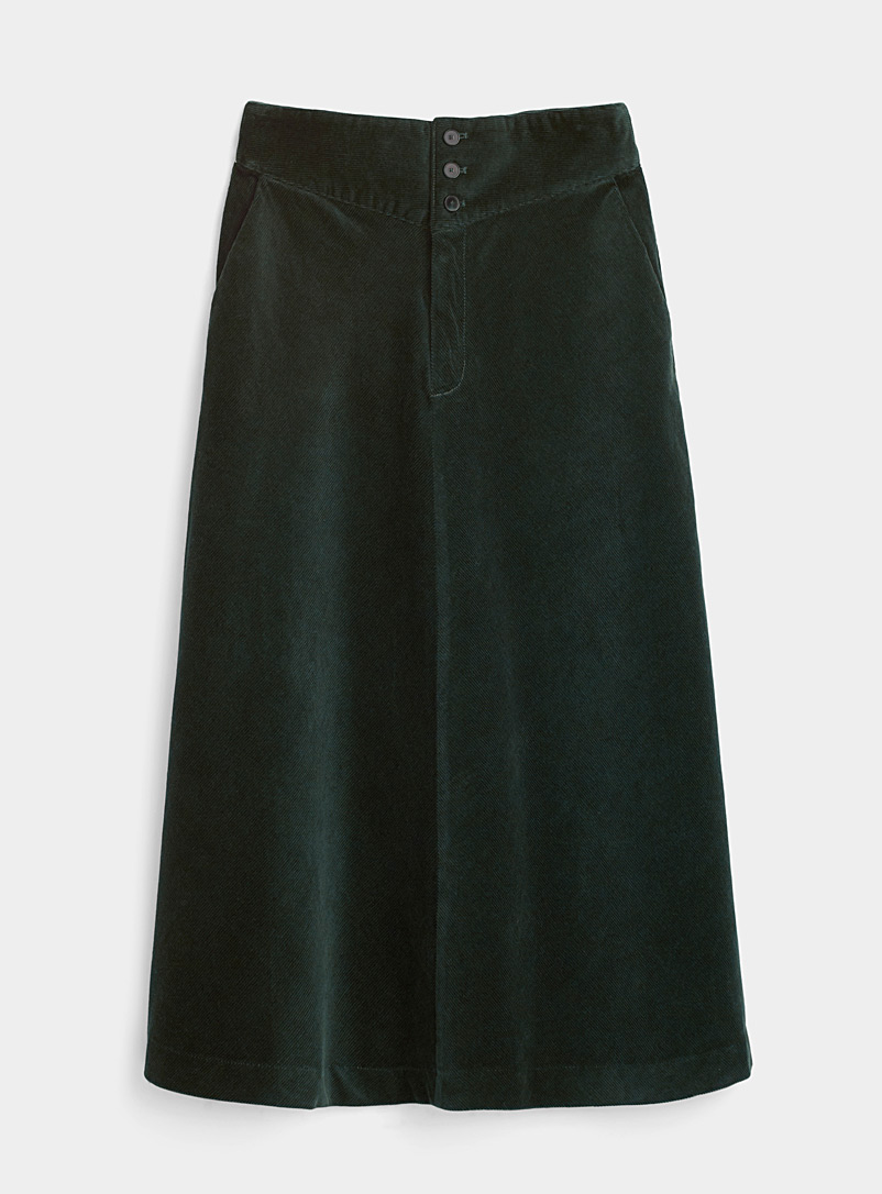 Icône Green Corduroy midi skirt for women