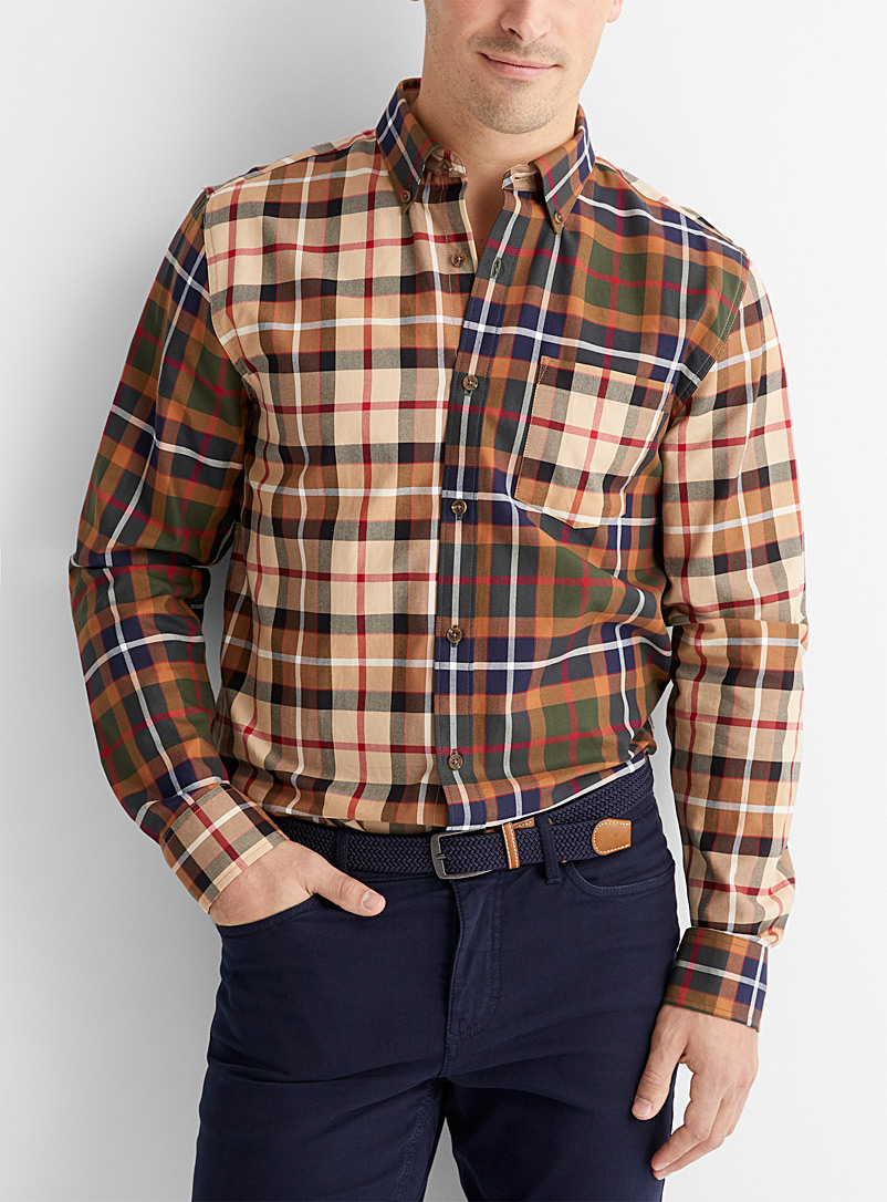 Le 31 Assorted Mixed heritage check shirt  Modern fit for men