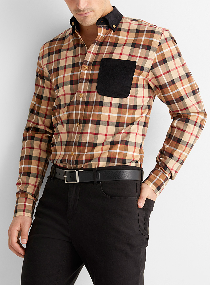 Le 31 Brown Corduroy-accent check shirt  Modern fit for men