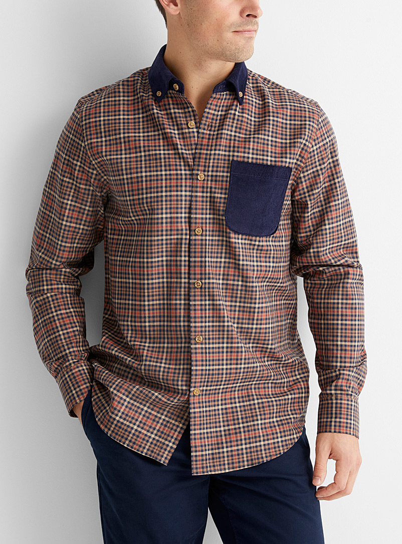 Le 31 Light Brown Corduroy-accent check shirt  Modern fit for men