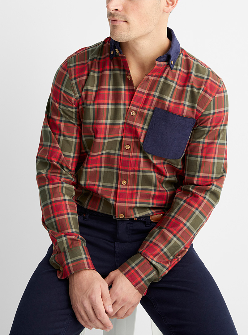 Le 31 Red Corduroy-accent check shirt  Modern fit for men