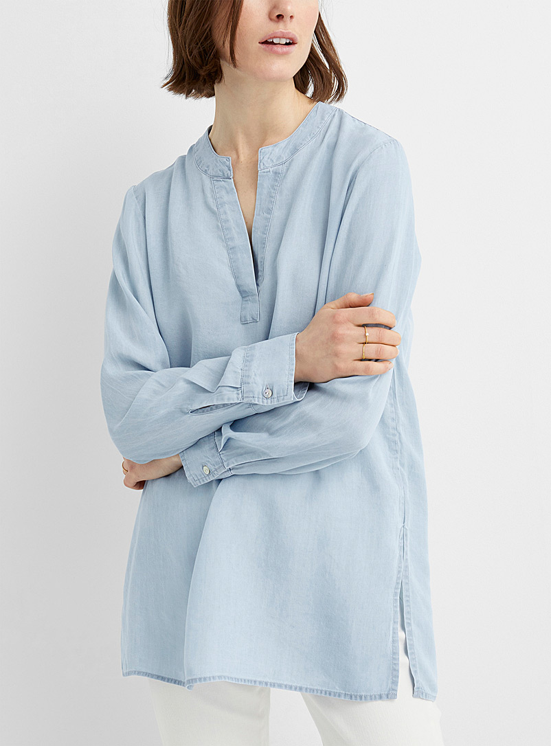 Contemporaine Slate Blue Lyocell denim tunic for women