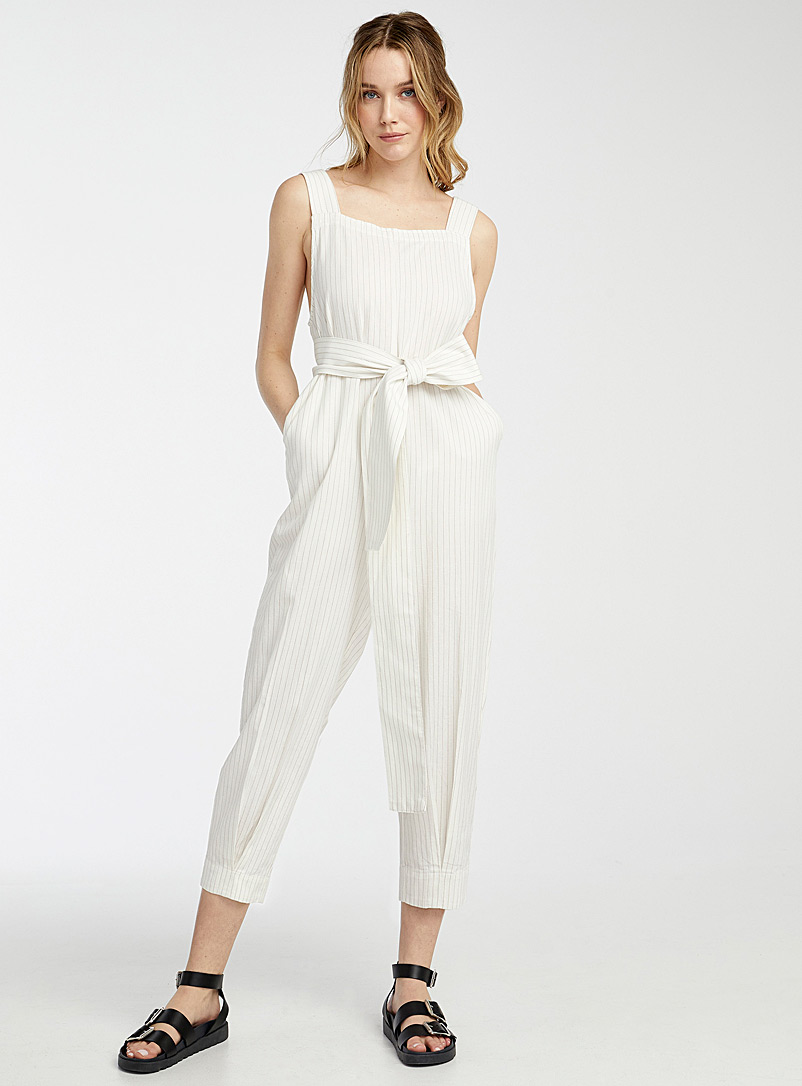 Icône Patterned Ecru Touch of linen belted jumpsuit for women