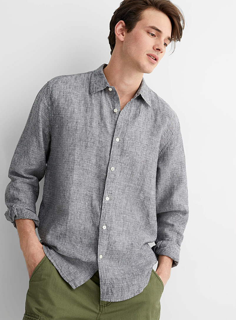 Le 31 Black Piqué dot chambray 100% linen shirt Comfort fit for men
