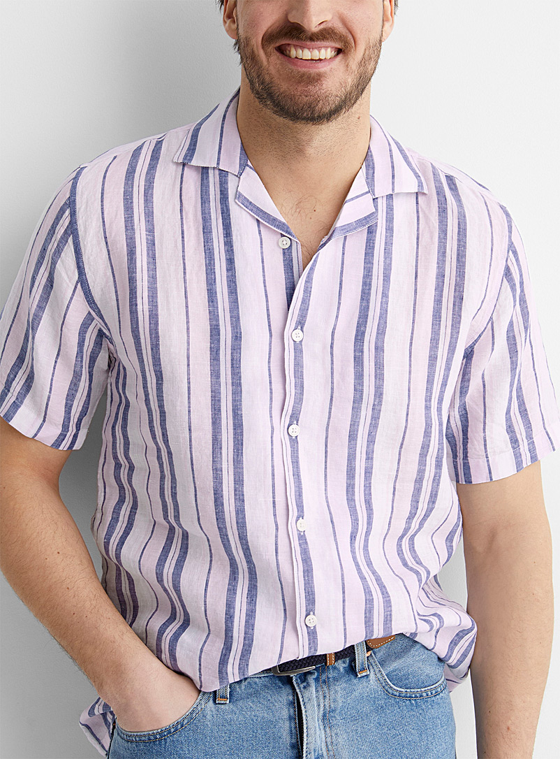 Le 31 Pink Pure linen chambray-stripe camp shirt Modern fit for men