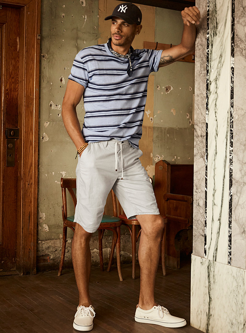 Le 31 Pearly Adjustable-waist organic cotton and linen Bermudas for men
