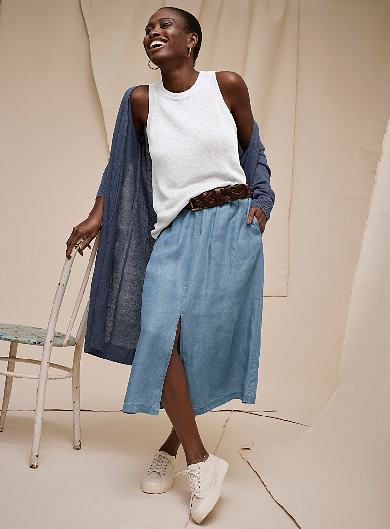 Contemporaine Baby Blue Lyocell denim midi skirt for women