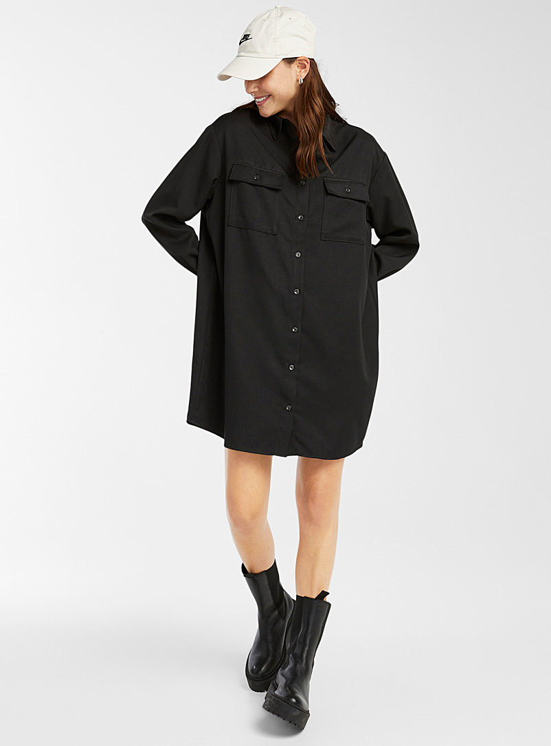 Twik Black Recycled polyester utility shirtdress for women