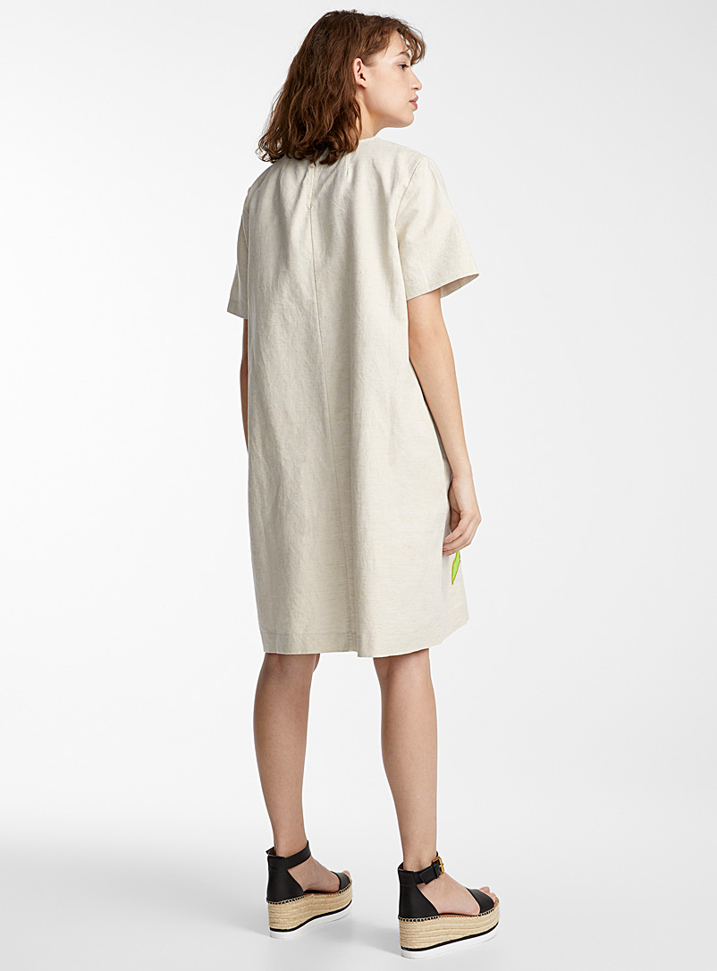 IFWTO + Edito par Simons Ecru/Linen Colourful appliqué shift dress  Tracy Toulouse for women
