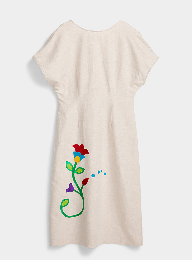 IFWTO + Edito par Simons Ecru/Linen Colourful appliqué cinched dress  Tracy Toulouse for women