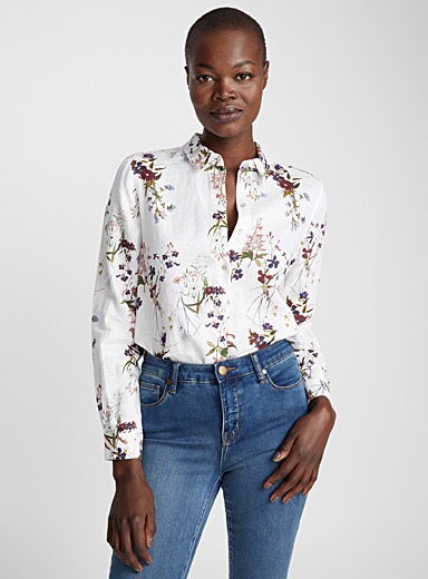 Pure linen printed shirt