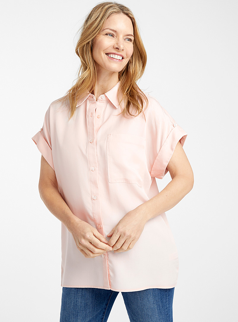 Contemporaine Pink Eco-friendly lyocell denim cuffed-sleeve shirt for women