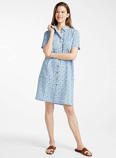 Contemporaine Patterned Blue TENCEL* Lyocell denim shirtdress for women