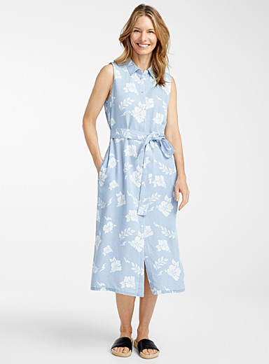 Contemporaine Assorted TENCEL* Lyocell belted shirtdress for women