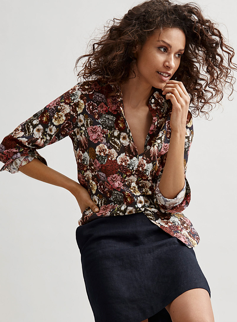 Contemporaine Assorted Floral linen shirt for women
