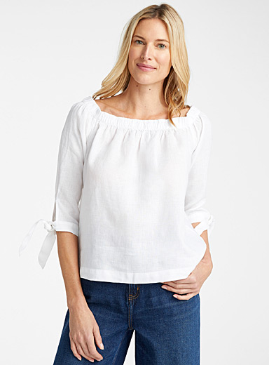 Bare-shoulder linen blouse